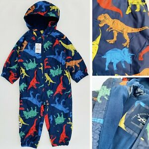 New Nutmeg Boys Dinosaurs Lined Waterproof All In One Puddlesuit 12-18 18-24 mth