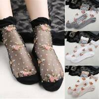 Thin Transparent Black Lace Floral Ruffle Ankle Socks Women Floral Crystal Socks