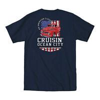 2019 Cruisin Ocean City official car show pocket t-shirt navy blue MD patriotic