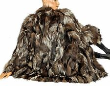stylish silver fox fur jacket L XL Batwing sleeves fur pieces Renard tapered hem