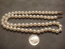 """NEW 18"""" BEAUTIFUL AKOYA PEARL NECKLACE 6.2-6.4 MM/14K SOLID YELLOW GOLD CLASP"""