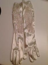 "Bridal Gloves Ivory Satin 18"" Long Floral beaded One Size NEW without tags"