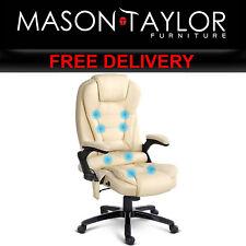 Mason Taylor 8 Point Massage Executive PU Leather Office Chair Beige MOC-09M-BG