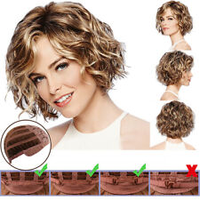 Women Vogue Ombre Short Wigs Ladies Mixed Brown Blonde Curly Wavy Hair Prop Wig