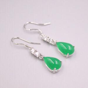GP 18K Green Jade Earrings / Heating Jade Luck Teardrop Dangle Earrings 34x9mm
