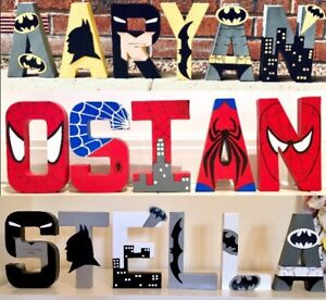 Spiderman Batman letters names. Marvel Superhero Avengers Boys Kids Children's