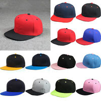 Fashion Blank Plain Snapback Hat Hip-Hop Adjustable Bboy Baseball Cap Flat Peak