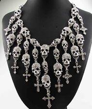 White Skull collar Chain Necklace 57 pendant Crystal Bib Statement charm chunky