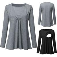 Women Pregnant Nursing Maternity Tunic Long Sleeve Tops Solid Blouse T Shirt Tee