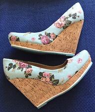 Dolcis Cuña De Plataforma Zapatos UK 6 Eu39 para Mujer Pálida Turquesa Floral usado una vez