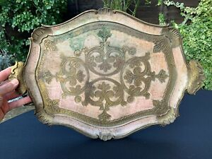 Antique Italian Florentine Wooden Tole Serving Tray Hand Painted Pink Gold Gilt