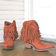NEW/NIB Liberty Black Vegas Papaya Fringe Boots Sundance Catalog 6.5 rustish