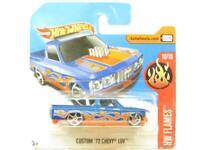 Hotwheels Custom 72 Chevy Luv Blue HW Flames Short Card 1 64 Scale Sealed
