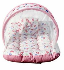 Baby Foldable Bed and Co Toddler Mattress with Mosquito Net For Nursery (Pink)