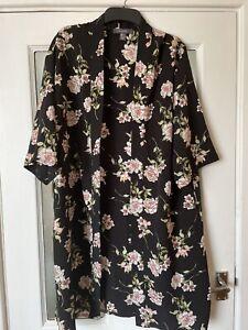 Black Floral Primark Kimono 10 12 14