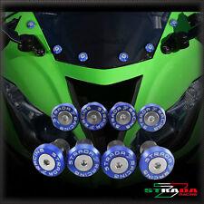 Strada 7 Racing CNC Pare-Brise Vis Carénage Kit 8pc Kawasaki ZX10R 04-14 Bleu