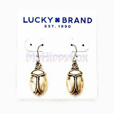 $35 Lucky Brand Antiqued Gold Tone Egyptian Scarab Beetle Drop Earrings JLRY3729