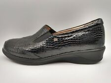 Finn Comfort Black Leather NEWPORT Slip On Loafers Shoes Sz 9 Patent Snakeskin