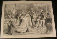 Prince Edward VII Honoring Maharajah Knighthood 1876 antique wood engraved print