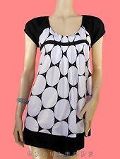 Tunique Haut PROMOD T 40 L 3 blanc noir 100% Coton Grapique Tunic Tunika Dress