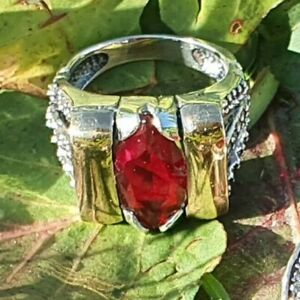 Sterling Silver and  Gold Ring  (size M) Natasha Style,SAME DAY SHIPPING !