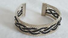 "8"" UNIQUE SILVERTONE HANDMADE BEADED BRAID  METAL CUFF BRACELET, WIRE, BEADS,"