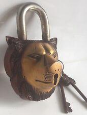 Lion Tête LOCK LOURD Grand Cadenas laiton clés aspect ancien Sing Coussin