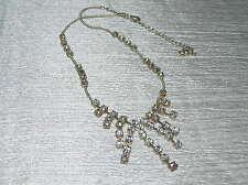 Estate Silvertone Tiny Bead with Round Clear Rhinestone Spray Necklace – 12 inch