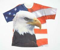 Get a Life Mens Size 2XL Graphic Multi-Coloured American Eagle T-Shirt