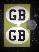 2x GB REFLECTIVE Motorcycle Euro number plate travel sticker decal graphic