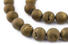 Gold Round Druzy Agate Beads 14mm Brass Gemstone 16 Inch Strand