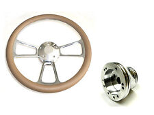 "Columbia Par Car 14"" Billet & Tan Steering Wheel Includes Horn & Adapter"