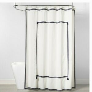 Navy Border Shower Curtain - Threshold New