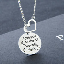 I Love You To The Moon and Back Necklace Hearts Pendant Mom Wife Girlfriend Gift
