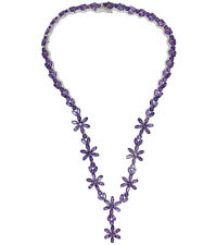 Amethyst Gemstone 56.29 carat Flower Eternity 16.5 inch Sterling Silver Necklace