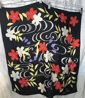"Vintage Silk Scarf Hanae Mori Floral Red  Black Japan 28""x28"""