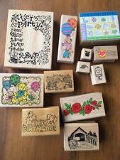 Rubber Stamp Lot party Bear Balloon Mini Sea roses Hero arts PSX Imagine that