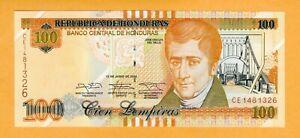 Honduras UNC 100 Lempiras 2014 P-102b Banknote