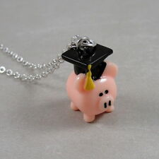 Pink Pig Graduation Necklace - Pig in Grad Cap Charm - Graduation Pig Gift NEW