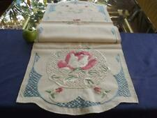 Antique 19c Arts & Crafts Cotton Centerpiece Runner w/ Hand Embroidery To Finish