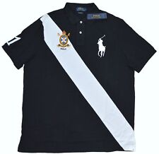 New 2XB 2XL BIG POLO RALPH LAUREN Mens Big pony sash Rugby shirt top black 2X