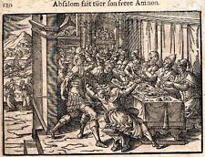 """Leclerc's Bible Figures - Woodcut - """"ABSALOM KILLS HIS BROTHER AMNON"""" -1614"""