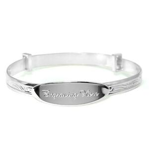 Solid Silver Christening Bangle Engraved Naming Day Bracelet Baby Gifts Presents