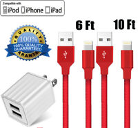 Lightning Charging Cable Cord USB Wall Charger Plug For iPhone 6 7 8 Plus XR XS