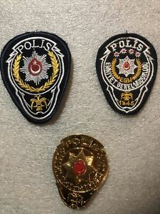Authentic Turkish National Police Patches (2) And Breast Badge