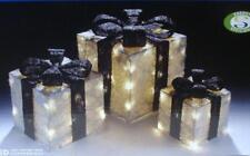 Set x3 LED Lit Parcels / Gifts Silver/Black Christmas Lights Indoor/Outdoor