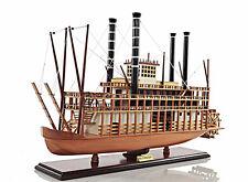 "King Of Mississippi Paddlewheel Steamboat Wooden Riverboat Model 30"" Ferry Boat"