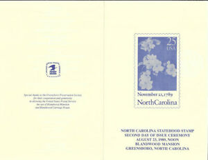 #2347-C4 First Day Ceremony Program North Carolina Statehood Stamp