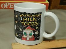 "Me Ink (Mary Engelbreit) Xmas Christmas Santa Mug ""No Kidding?! Milk, Too?!"""