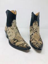 Gianni Barbato 37.5 Tan Calf Hair Black Snake Print Ankle Boots 2400-519-12820